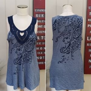 NEW Charlotte Russe   L blue embroidery tank top